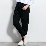 ♥พร้อมส่ง♥ กางเกงยีนส์สีดำขายาวสำหรับสาวอวบ แต่งขาด ๆ (42)