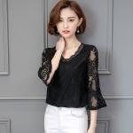 {พร้อมส่ง} เสื้อลูกไม้ฉลุ คอวี สีดำสุดหรู (4XL)