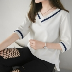 [PRE-ORDER] เสื้อชีฟองคอวีสีขาว (L,XL,2XL,3XL,4XL)