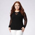 เสื้อยืดไซส์ใหญ่ สีดำ แขนชีฟอง (XL,2XL,3XL) E19015