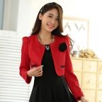 เสื้อคลุมcropped สีแดง/สีเบจ แขนยาว (XL,2XL,3XL)