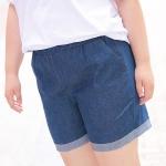 กางเกงยีนส์ขาสั้นเอวยางยืด สีฟ้าเข้ม (3XL,4XL,5XL,6XL,7XL) MXK801