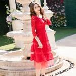 เดรสผ้าลูกไม้สีแดง คอกลม แขนยาว (L,XL,2XL,3XL,4XL)