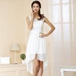 ++พร้อมส่ง++ ชุดเดรสผ้าชีฟองไซส์ใหญ่ แขนกุด กระโปรงหน้าสั้นหลังยาว สีขาว (2XL)