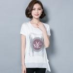 เสื้อชีฟองสีขาวแขนในตัว สกรีนรูปด้านหน้าเสื้อ (M,L,XL,2XL,3XL)