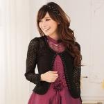 เสื้อคลุมผ้าลูกไม้แขนยาว สีดำ/สีขาว (XL,2XL,3XL)