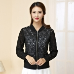 เสื้อคลุม เสื้อแจ็คเก็ตไซส์ใหญ่ ฉลุลาย สีดำ/สีขาว คลาสสิก แขนยาว ซิปหน้า (XL,2XL,3XL,4XL)