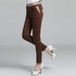 กางเกงขายาวทรงดินสอสีน้ำตาล ขอบเอว+กระเป๋าแต่งผ้าลายดอก เอวยางยืด (XL,2XL,3XL,4XL)