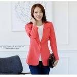 ++พร้อมส่ง++ เสื้อสูทสไตล์เกาหลี ปกเทเลอร์ สีส้ม (2XL)
