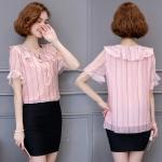 เสื้อชีฟองสีชมพูสวยหวาน (L,XL,2XL,3XL,4XL,5XL)