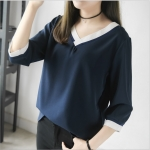 ++พร้อมส่ง++ เสื้อชีฟองคอวีสีน้ำเงิน (XL)