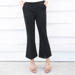 กางเกงขายาวสีดำไซส์ใหญ่ เอวยางยืด ปลายขาบานตัดแฉก (XL,2XL,3XL,4XL)