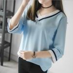 เสื้อชีฟองคอวีสีฟ้า (L,XL,2XL,3XL,4XL)