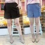 กางเกงขาสั้นไซส์ใหญ่ สีดำ/สีน้ำเงิน ตกแต่งด้วยแถบโครเช่ต์ลายสวย ปลายขากุ๊นแถบโครเช่ต์เก๋มาก (XL,2XL,3XL)