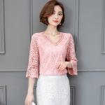{พร้อมส่ง} เสื้อลูกไม้ คอวี สีชมพูแสนสวย (4XL,5XL)