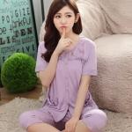 ชุดนอนผ้าฝ้ายสีม่วง แขนสั้น ขาสั้น (M,L,XL)