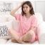 ชุดนอนผ้าฝ้ายสีชมพูลายน้องหมีสีขาว แขนสั้น ขาสั้น (M,L,XL,2XL,3XL,4XL) #2609(pink)