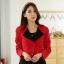 เสื้อคลุมแจ็คเก็ตไซส์ใหญ่ สีแดง แขนยาว ติดกระดุมหนึ่งเม็ด (XL,2XL,3XL) JK-9847