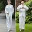 ชุดรำมวยจีน Tai Chi เซ็ท 2 ชิ้น เสื้อผ้าซาตินแขนยาว+กางเกงซาตินขายาว เอวยางยืด ปลายขาใส่ยางยืด (XXS,XS,S,M,L,XL,2XL,3XL) J2526