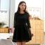 ชุดเดรสเจ้าหญิง สีขาว/สีดำ ผ้าออแกนซ่า คอเสื้อติดไข่มุกประดับเพชร (XL,2XL,3XL) B-9648