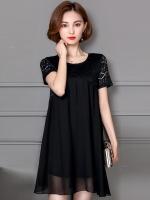 มินิเดรส/เสื้อตัวยาวชีฟองสีดำ ช่วงไหล่แต่งลายฉลุสวย แขนสั้น (L,XL,2XL,3XL,4XL,5XL)