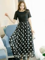 ชุดเดรสแฟชั่นสาวอวบสีดำ ผ้าลูกไม้แขนสั้นตัดต่อผ้าชีฟองลายจุด ซับในทั้งชุด (XL,2XL,3XL,4XL)