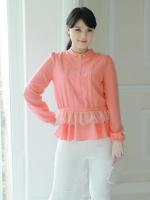 ++พร้อมส่ง++ เสื้อชีฟอง แต่งช่วงเอวด้วยผ้าลูกไม้เกาหลี สีCoral (4XL)