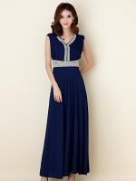 ชุดราตรียาวสวยสง่างาม ติดเพชรสวยอลัง สีน้ำเงิน/สีส้ม แขนกุด (XL,2XL,3XL)