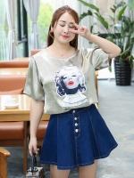 เสื้อทีเชิ้ตผ้าไหมซาติน สีแชมเปญ คอกลม แขนสั้น ภาพมาริลีน มอนโร่ (XL,2XL,3XL,4XL)