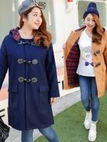 เสื้อโค้ทกันหนาวทำจากผ้าขนสัตว์ไซส์ใหญ่ มีฮู้ด สีแดง/สีกรมท่า/สีน้ำตาลอ่อน (XL,2XL,3XL,4XL)