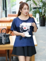 เสื้อทีเชิ้ตผ้าไหมซาติน สีน้ำเงิน คอกลม แขนสั้น ภาพมาริลีน มอนโร่ (XL,2XL,3XL,4XL)