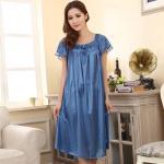 ชุดนอนไซส์ใหญ่ ผ้ามันลื่น สีฟ้าเข้ม (L,XL,2XL)