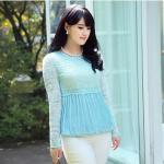 เสื้อลูกไม้ สีฟ้า ใต้อกลงไปเป็นผ้าชีฟองจีบ แบบหรูสง่างาม (L,XL,5XL)