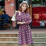 เดรสแฟชั่นผ้าชีฟองพิมพ์ลายสไตล์เกาหลี เอวรูดผูกเชือก แขนยาว (XL,2XL,3XL,4XL,5XL)