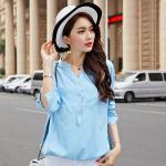 [PRE-ORDER] เสื้อทีเชิ้ตแขนยาวไซส์ใหญ่สไตล์เกาหลี สีฟ้า (3XL,4XL)