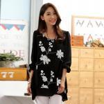เสื้อชีฟองไซส์ใหญ่ สีดำ ปักลายดอกไม้สวย แขนยาว ชายเสื้อเลเยอร์ (XL,2XL,3XL)