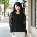 เสื้อลูกไม้ สีดำ ใต้อกลงไปเป็นผ้าชีฟองจีบ แบบหรูสง่างาม (L,XL,2XL,4XL,5XL)
