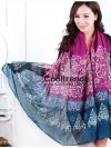 ผ้าพันคอลายเรอนาซองส์ Renaissance style : สีม่วง - ผ้า viscose 180x90 cm