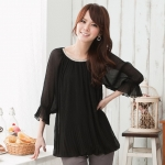 เสื้อชีฟอง สีดำ (XL)