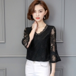 [PRE-ORDER] เสื้อลูกไม้ฉลุ คอวี สีดำสุดหรู (XL,2XL,3XL,4XL,5XL)