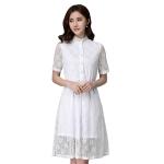เดรสผ้าลูกไม้สีขาว พร้อมซับใน (XL,2XL,3XL,4XL)