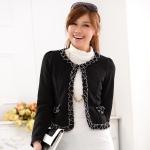 เสื้อแจ็คเก็ตคลุมไหล่สไตล์แฟชั่นเกาหลีไซส์ใหญ่ สีขาว/สีดำ XL,2XL,3XL