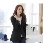 เสื้อสูทสไตล์เกาหลี ปกเทเลอร์ สีส้ม/สีดำ (XL,2XL,3XL)