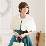 ผ้าคลุมไหล่ชุดราตรีผ้าขนแกะ สีขาว (XL)