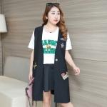 เสื้อกั๊กสีดำตัวยาว (XL,2XL,3XL)