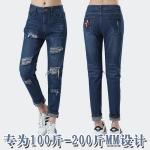 กางเกงยีนส์ขาด ๆ ไซส์ใหญ่ สีน้ำเงิน (XL,2XL,3XL,4XL,5XL,6XL)