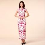 ชุดกี่เพ้ายาวไซส์ใหญ่ สีชมพูเข้มลายดอก คอจีน แขนในตัว ผ่าข้าง (M,L,XL,2XL,3XL)