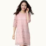 เดรสผ้าลูกไม้สีชมพูไซส์ใหญ่ แขนสามส่วน (XL)