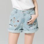 กางเกงยีนส์ขาสั้นไซส์ใหญ่ เอวด้านหลังใส่ยางยืด สีฟ้าปักลายน่ารัก 1XL(34)