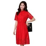 เดรสผ้าลูกไม้สีแดง พร้อมซับใน (XL,2XL,3XL)